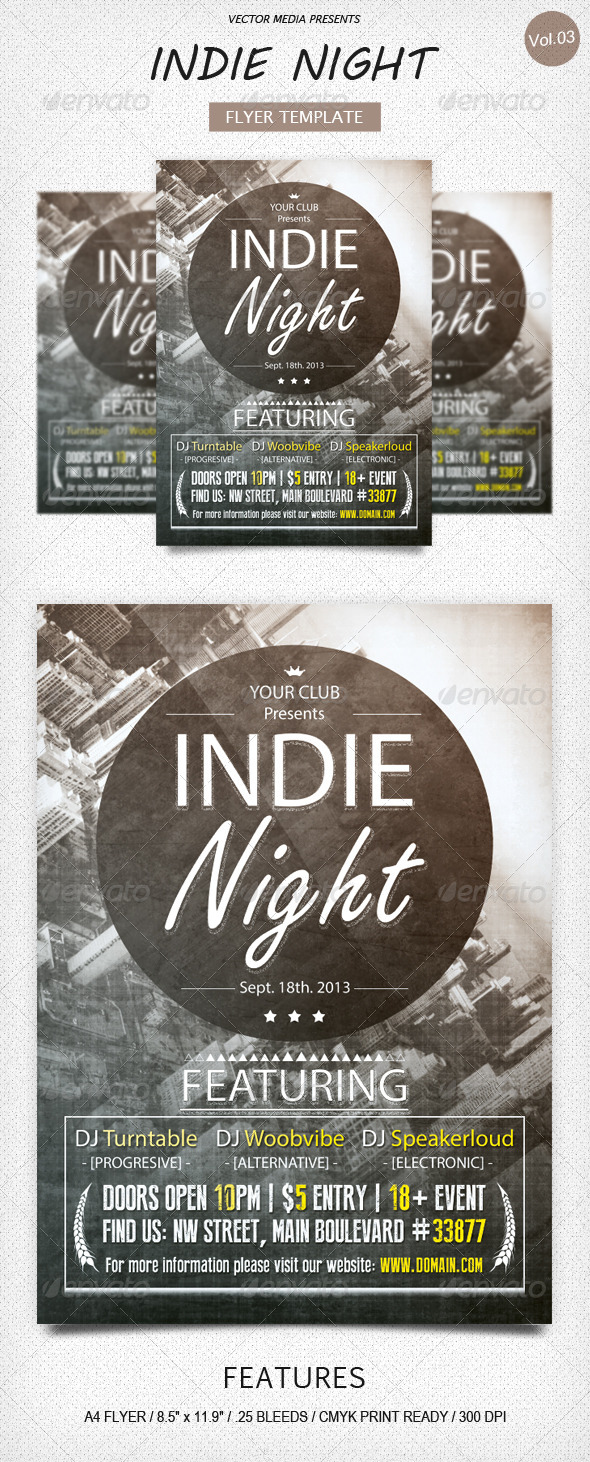 Indie Night - Flyer [Vol.3] - Clubs & Parties Events