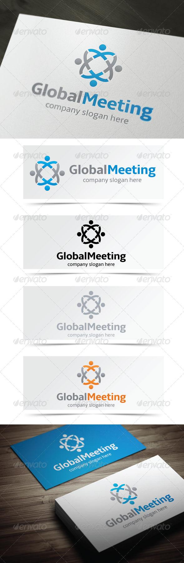 Global Meeting - Humans Logo Templates