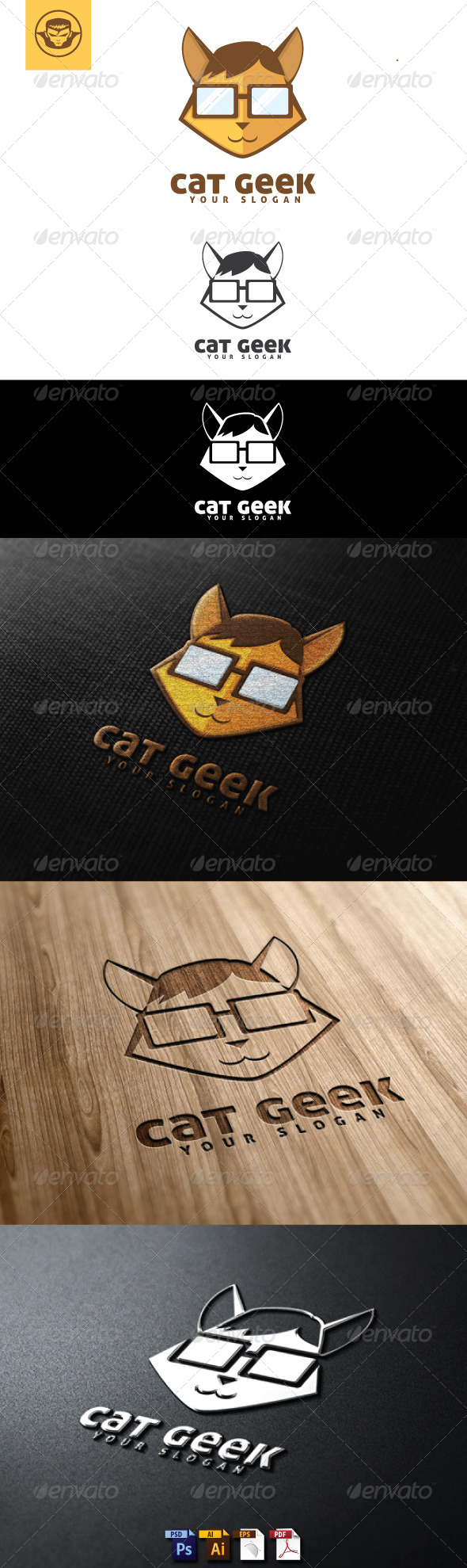 Cat Geek Logo Template - Animals Logo Templates