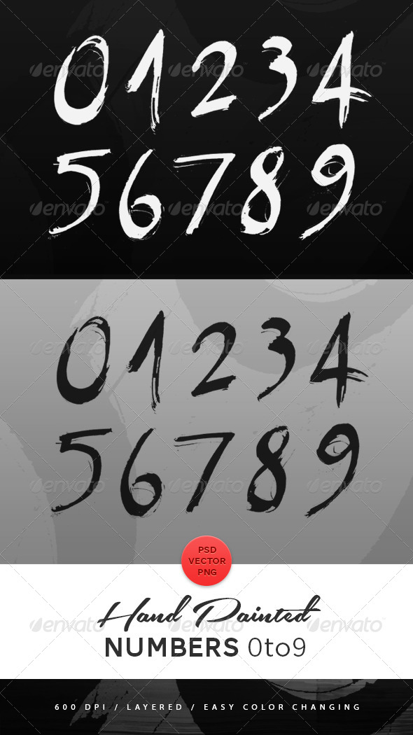 Hand Painted Numbers - Decorative Symbols Decorative