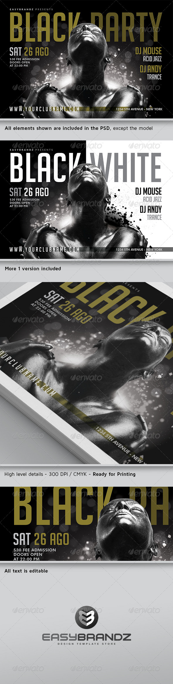 Black Party Flyer Template Vol.02 - Events Flyers