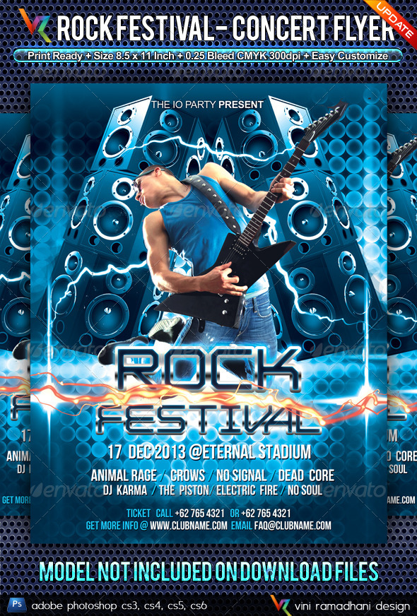 Rock Music Festival Flyer - Clubs & Parties Events