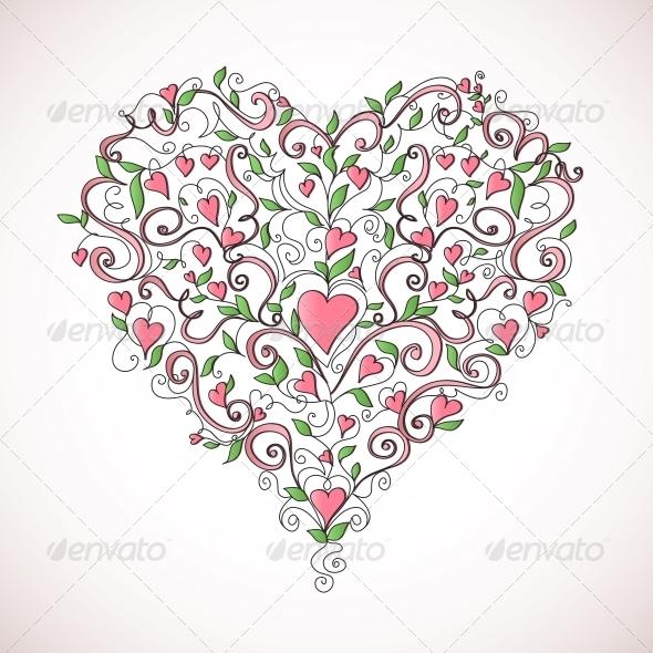 Heart Shaped Ornament - Flourishes / Swirls Decorative