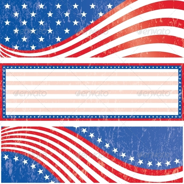 American Flag Stickers Set - Backgrounds Decorative