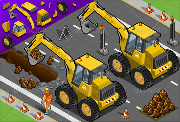 Isometric Yellow Excavator in Rear View - Objects Vectors