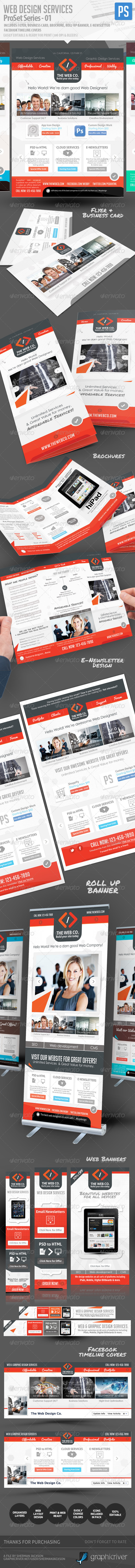 Web Design Service Pro Set - All in One Bundle - Stationery Print Templates