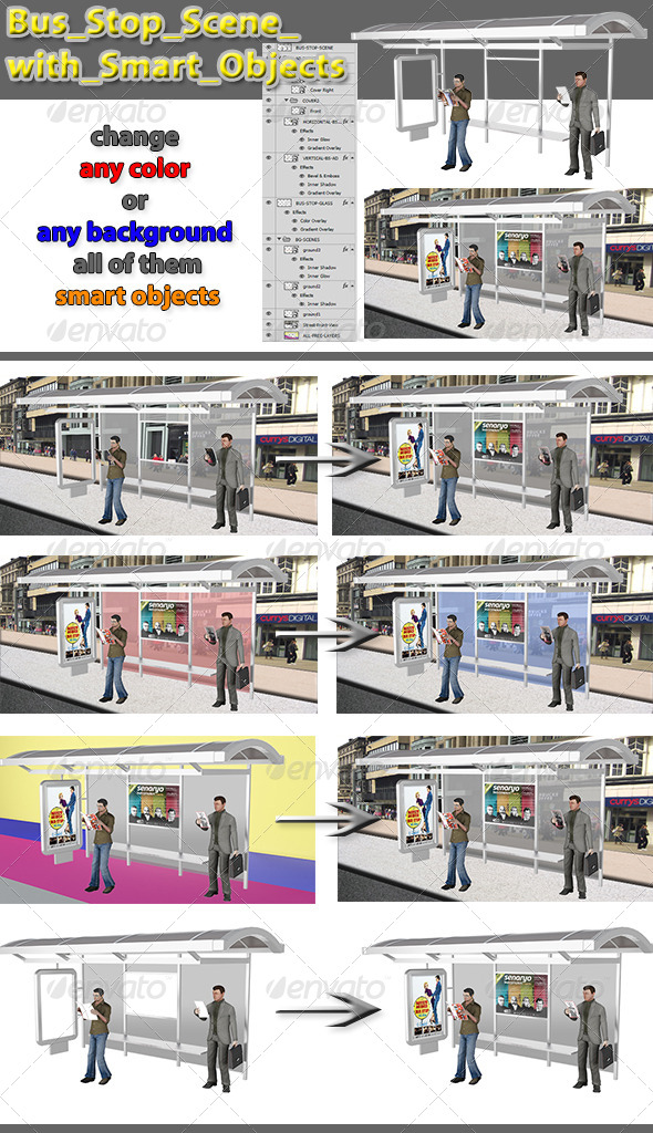 Bus Stop Scene with Smart Objects - Signage Print
