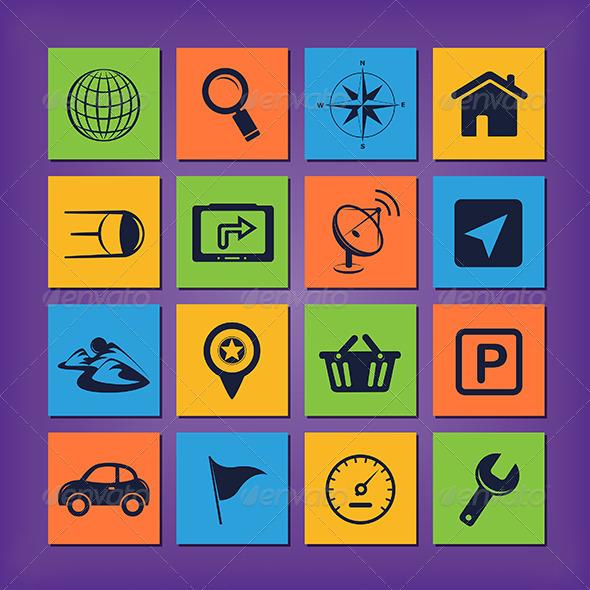 GPS Navigation Icons - Technology Conceptual