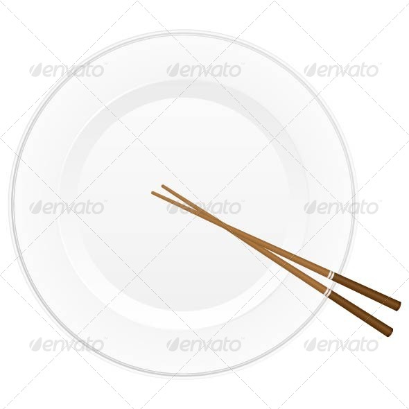 Chopsticks and Plate - Food Objects