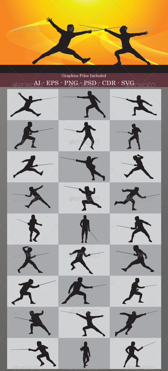 Fencing Silhouettes - Sports/Activity Conceptual