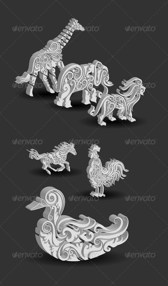 Animals Engraving Ornament - Decorative Symbols Decorative