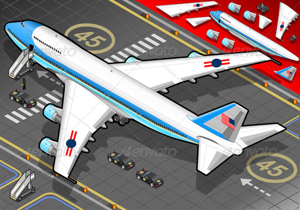Isometric Air Force One in Rear View - Objects Vectors
