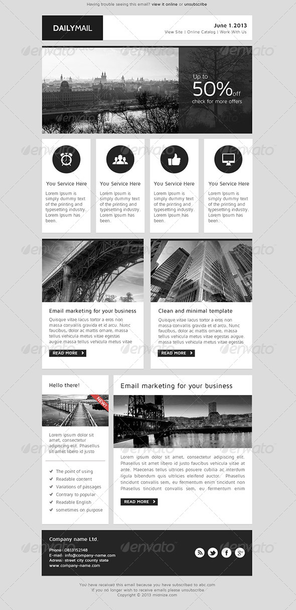 Daily Mail Clean PSD Email Newsletter Template By Smythemes - Daily newsletter template