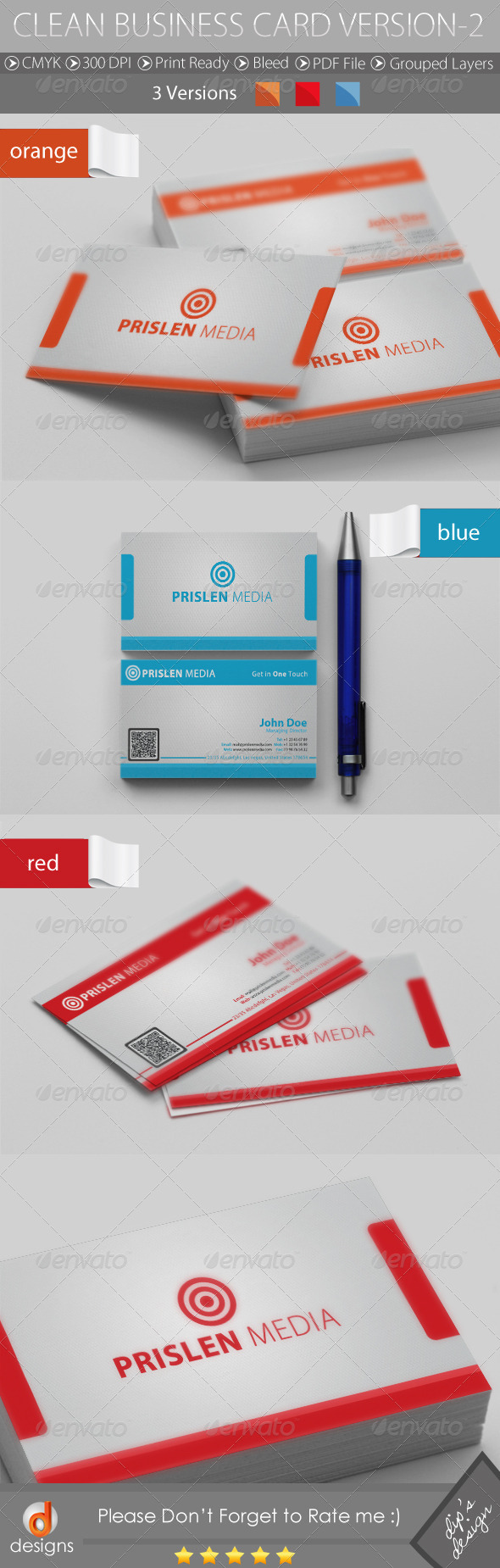 CLEAN BUSINESS CARD VERSION-2 - Business Cards Print Templates