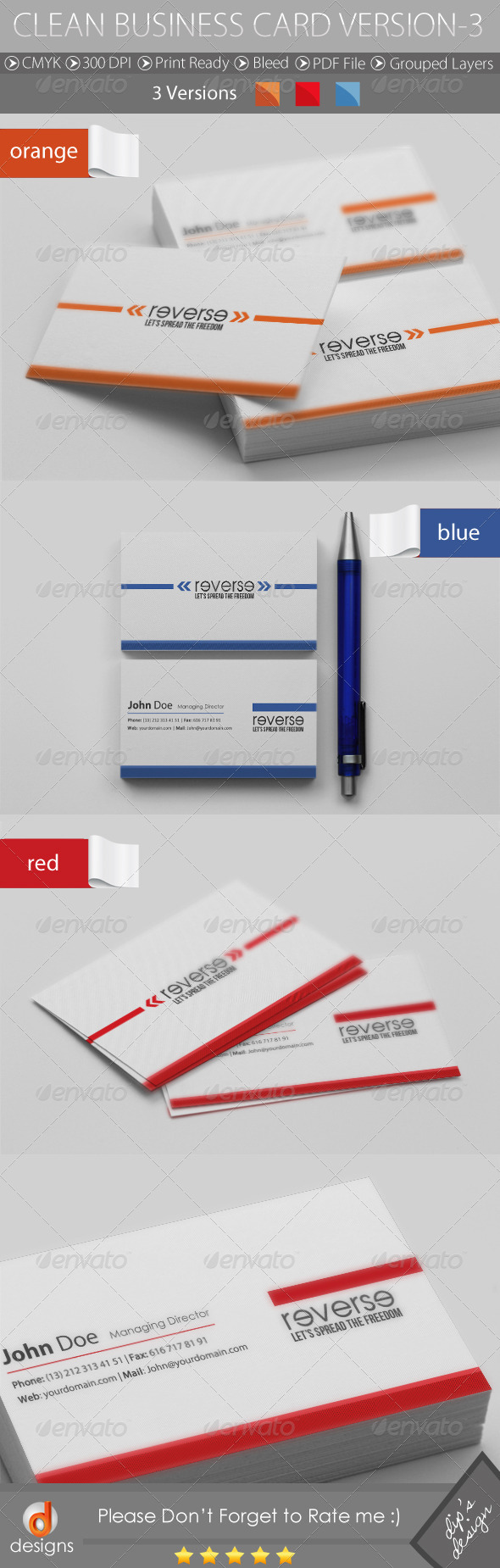 CLEAN BUSINESS CARD VERSION-3 - Business Cards Print Templates