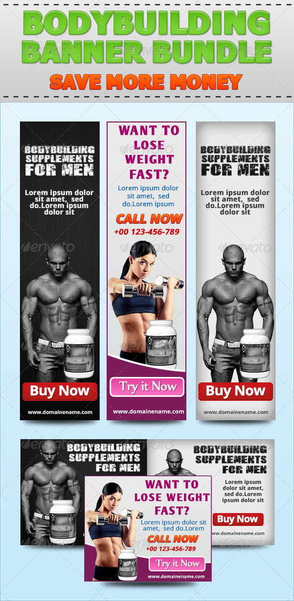 Bodybuilding Banner Bundle - Banners & Ads Web Elements