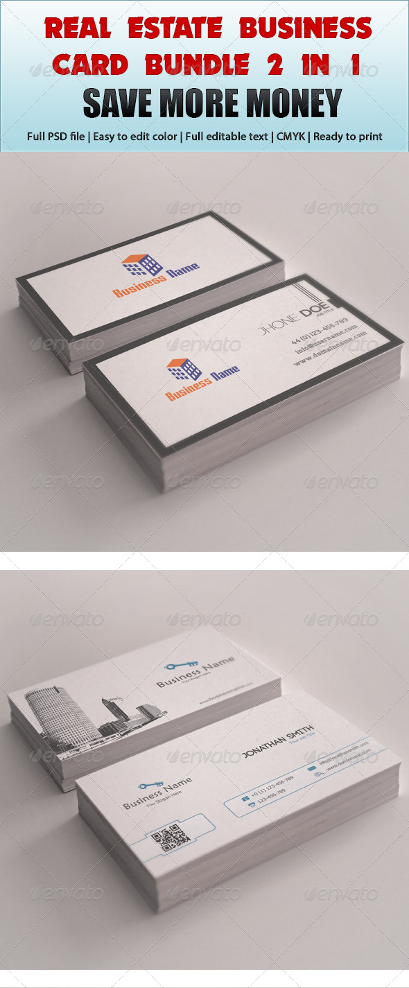 Real Estate Business Card Bundle 2 in 1 - Corporate Business Cards