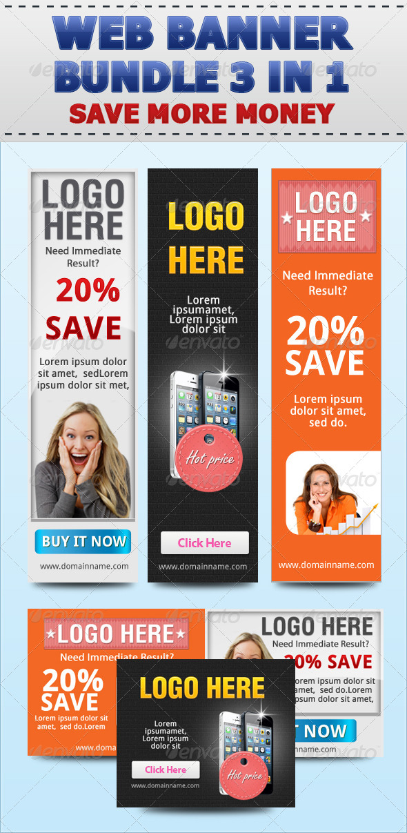 Web Banner Set Bundle 3 in 1 - Banners & Ads Web Elements