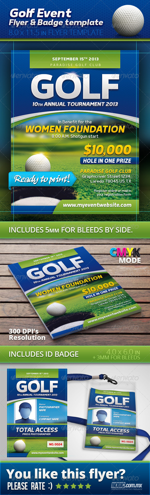 Golf Event Flyer and Badge Template - Sports Events