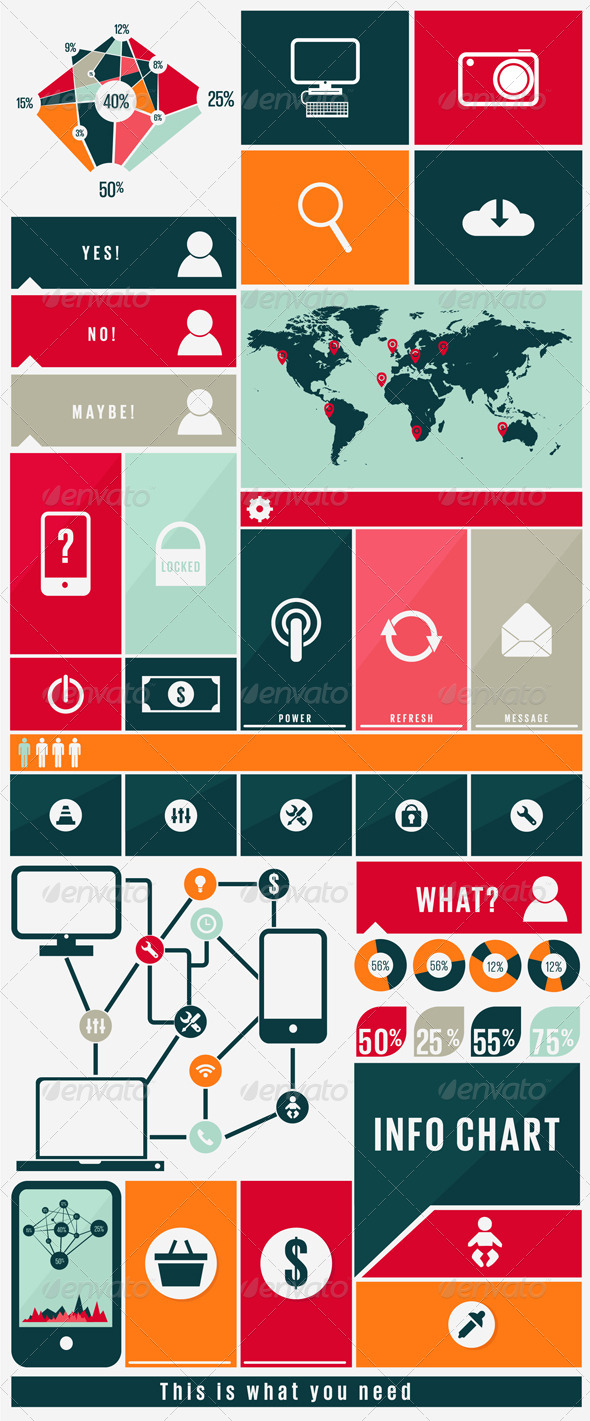 Infographic Kit with Web Icons - Miscellaneous Characters