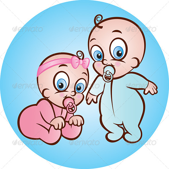 Baby Boy and Girl - People Characters