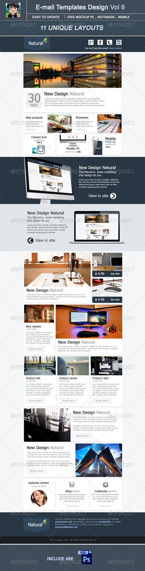 Natural : E-mail Template Design Vol 5 - E-newsletters Web Elements