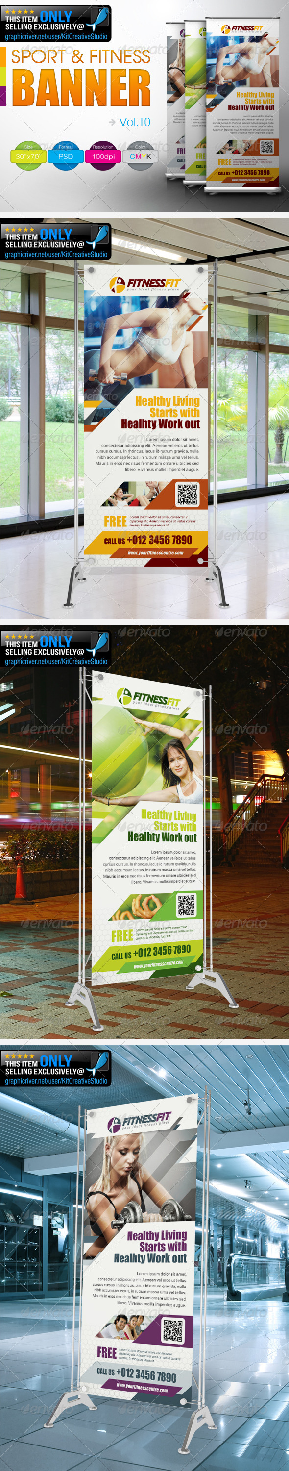 Fitness Banner Vol.10 - Signage Print Templates
