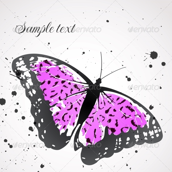 Vector Background with Leopard  Butterfly - Backgrounds Decorative