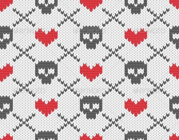 Knitted Pattern with Skulls - Patterns Decorative