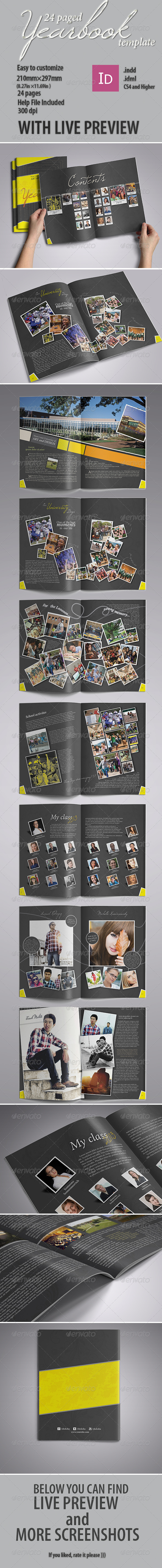 Modern Yearbook Template - Photo Albums Print Templates