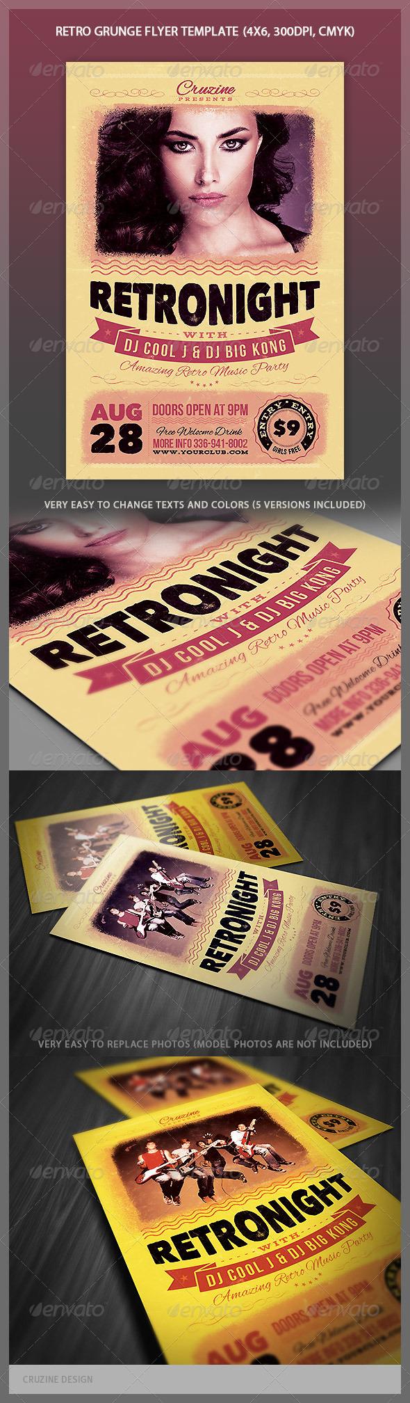 Retro Grunge Flyer - Events Flyers