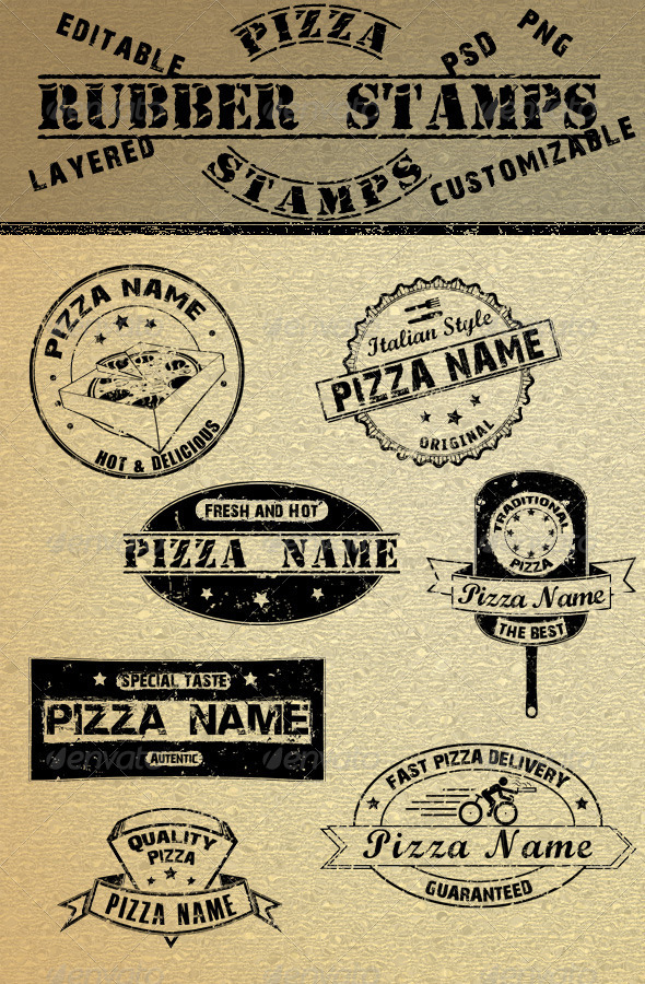 Pizza Rubber Stamps - Badges & Stickers Web Elements
