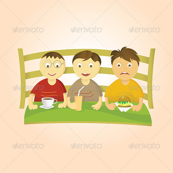 Three Boys Eating - People Characters