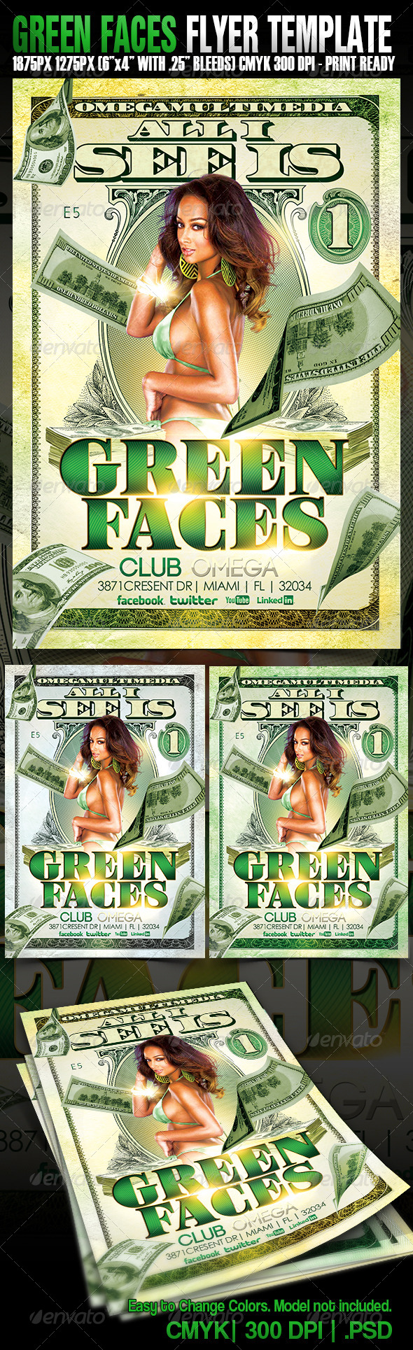 Green Faces - Events Flyers