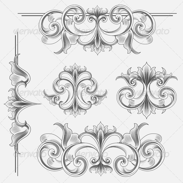 Set of Victorian Style Decorations - Flourishes / Swirls Decorative