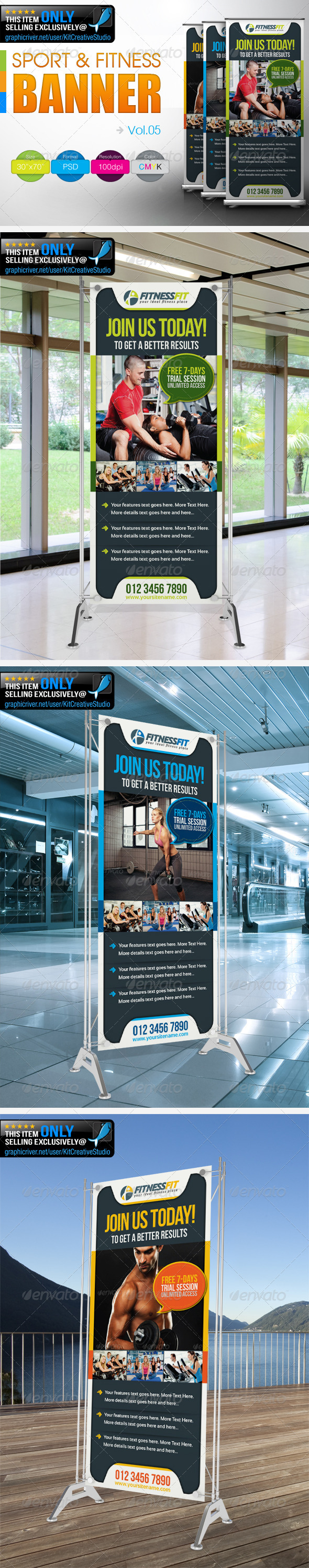 Fitness Banner Vol.5 - Signage Print Templates