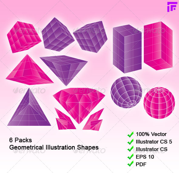 6 Packs 3D-like Geometrical Shapes - Objects Vectors