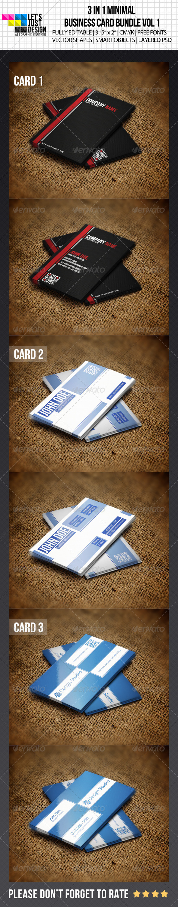 3 IN 1 Minimal Business Card Bundle - Creative Business Cards
