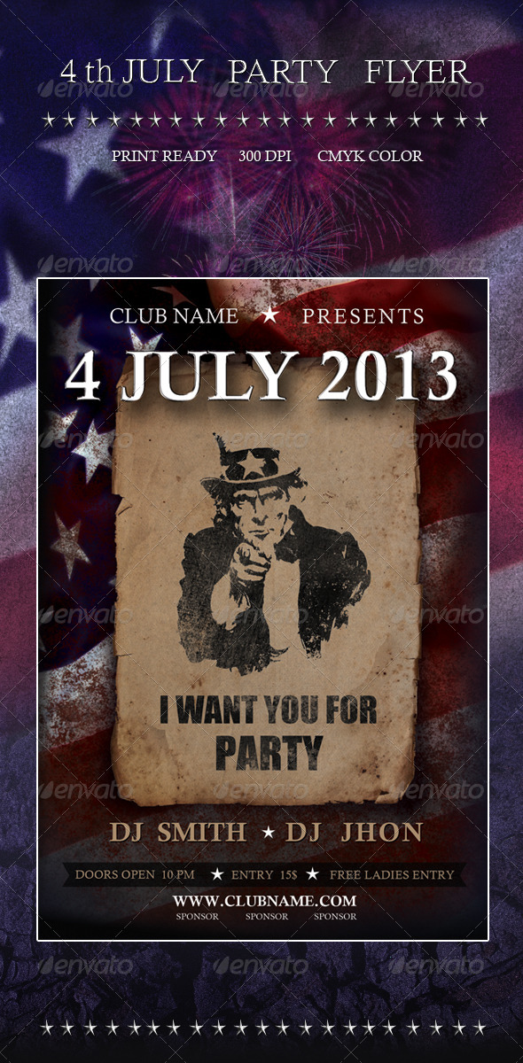 4 July Party Flyer - Clubs & Parties Events