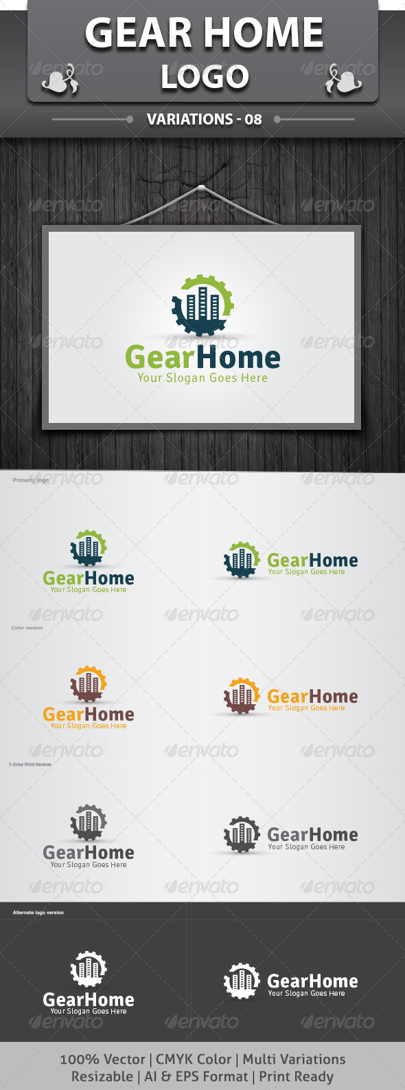 Gear Home Logo - Objects Logo Templates