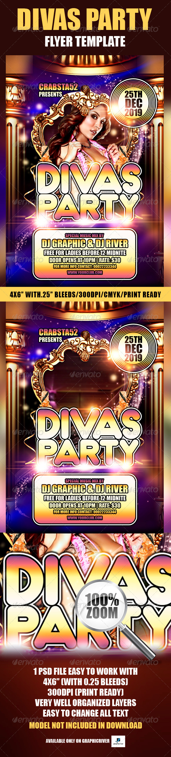 Divas Party Flyer Template - Flyers Print Templates