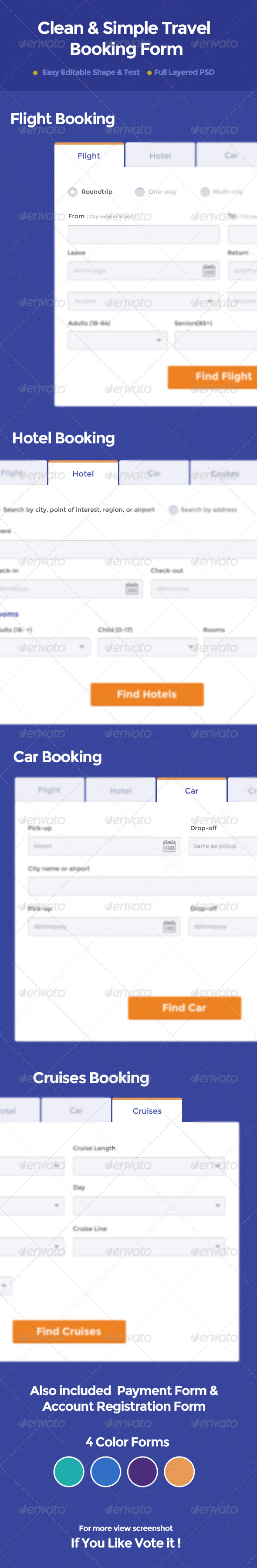 Clean & Simple Travel Booking Form - Forms Web Elements