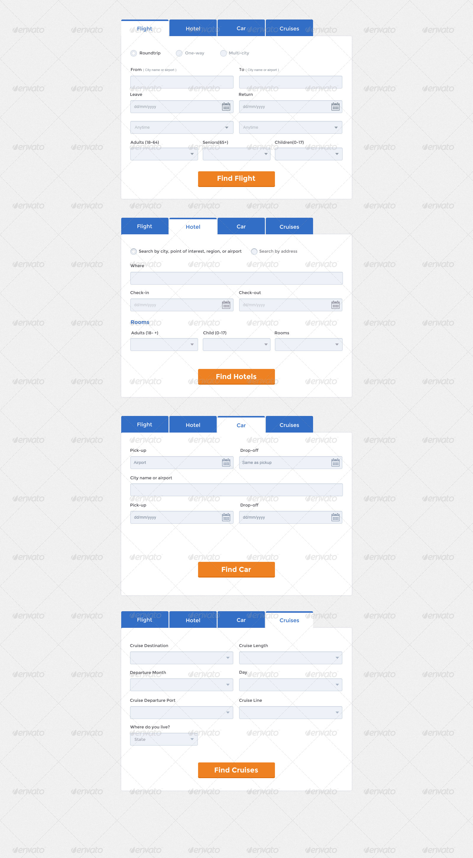Clean simple travel booking form by jitu graphicriver screenshot04 travel form blueg falaconquin