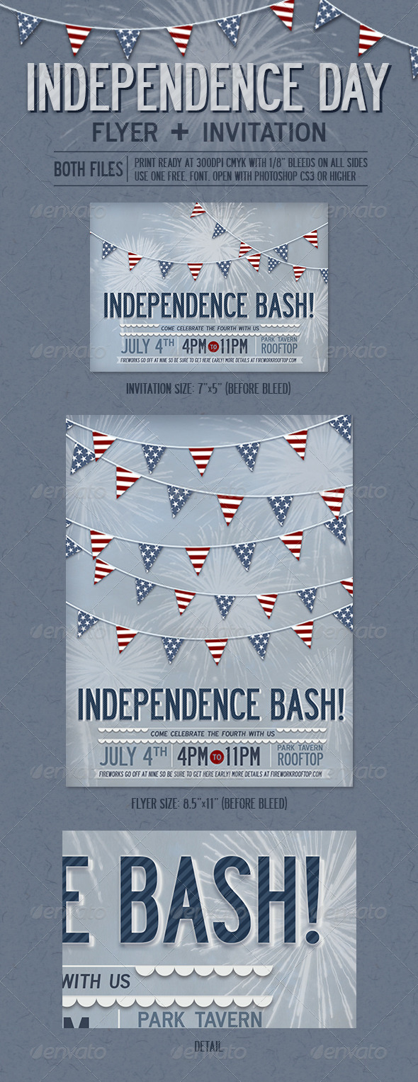 Independence Day Flyer + Invitation - Holidays Events