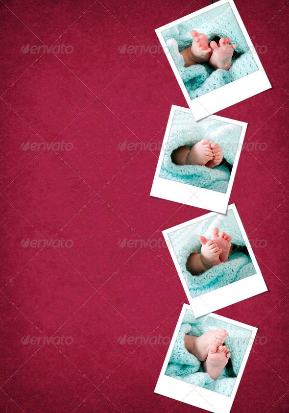 Funny happy baby feet polaroids - Stock Photo - Images