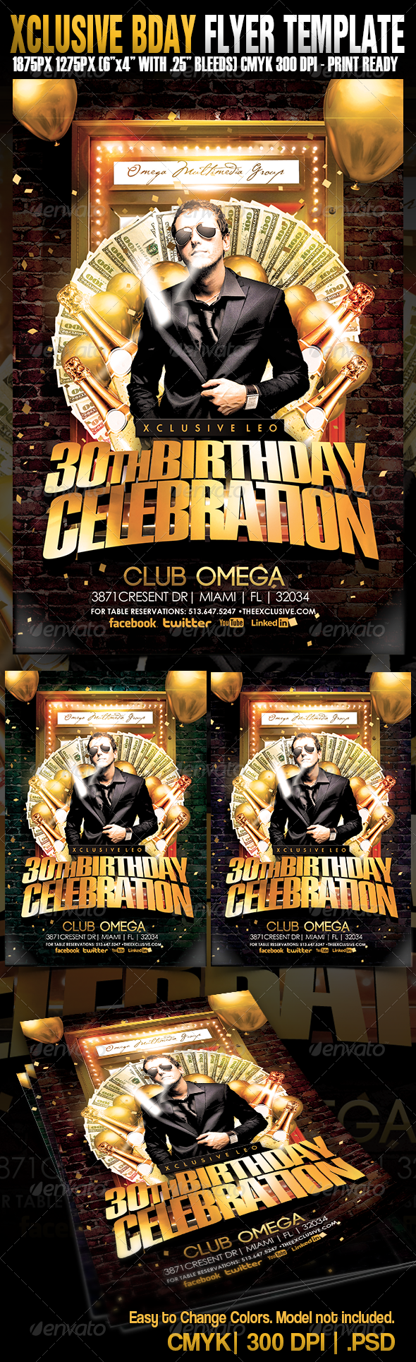 Xclusive Birthday Party - Events Flyers