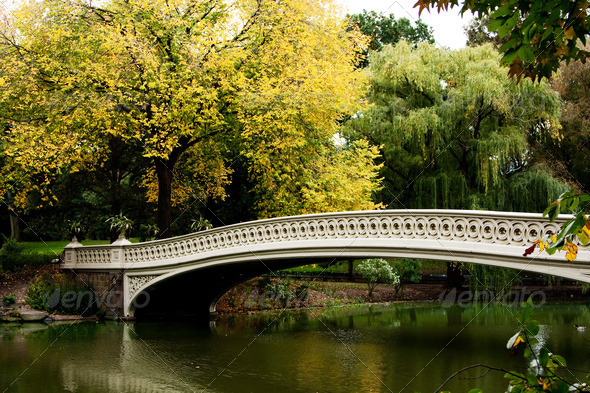 Bridge over lake in fall scenery - Stock Photo - Images