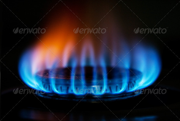 Stove gas fire flame - Stock Photo - Images