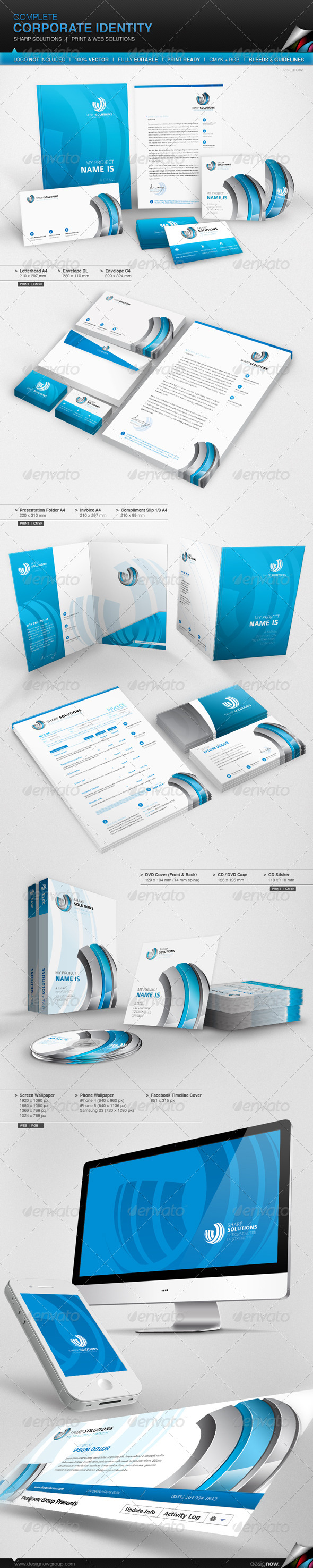 Corporate Identity - Sharp Solutions - Stationery Print Templates