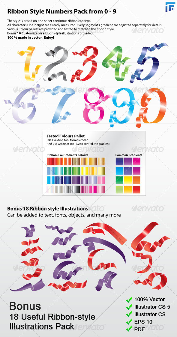 Ribbon Style Numbers Pack 0-9 - Objects Vectors
